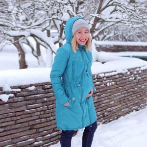 Зимове пальто для вагітних 2 в 1 - Бірюза
