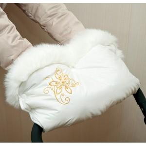 Муфта для рук біла з опушкою