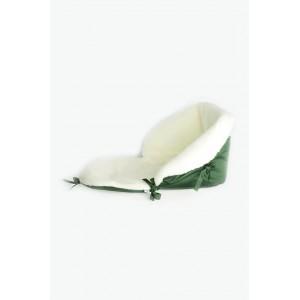 Матрасик для санок на овчині зелений
