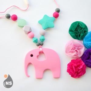 Силіконові слінгобуси з гризунком - Рожевий слон